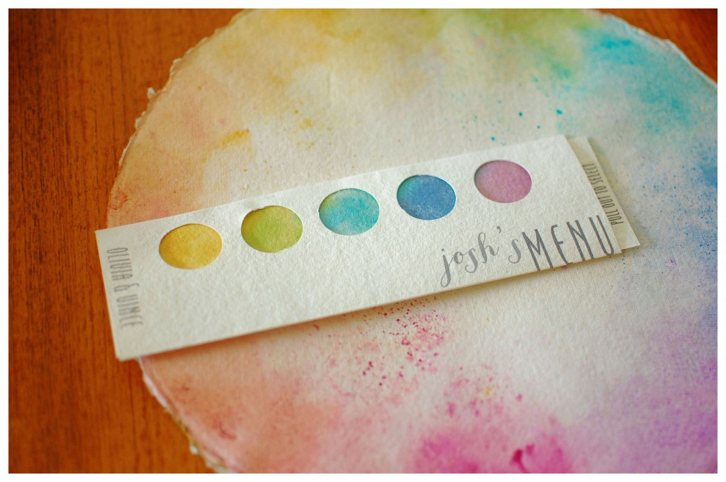 Watercolor Wedding Menu and Hand-Painted Charger